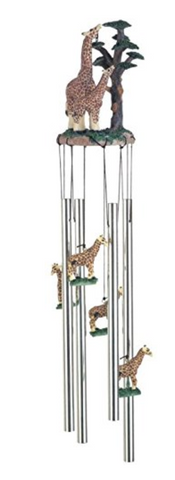 Wind Chime Round Top Giraffe with Baby Garden