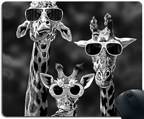 Giraffe Wearing Sunglasses Mouse Pad