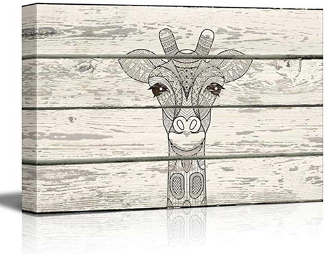 Giraffe Rustic Canvas Artwork