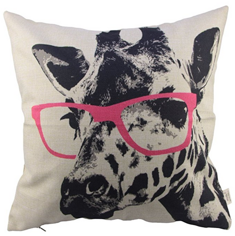 Giraffe Pink Glasses Sofa Pillow