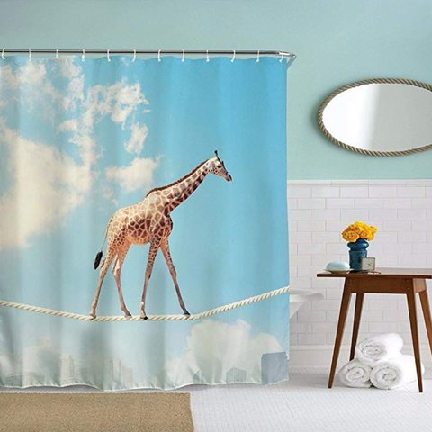 Giraffe Walking On Rope Shower Curtain