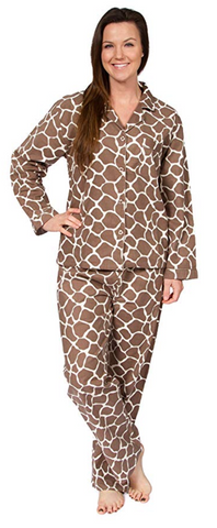 Giraffe Print Flannel Long-Sleeve Pajama Set