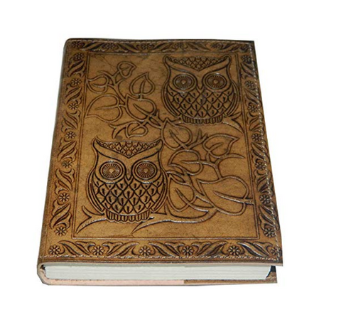 Handmade Owl Embossed Leather Journal