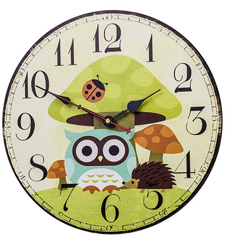 Owl Wooden Bedroom Wall Clock