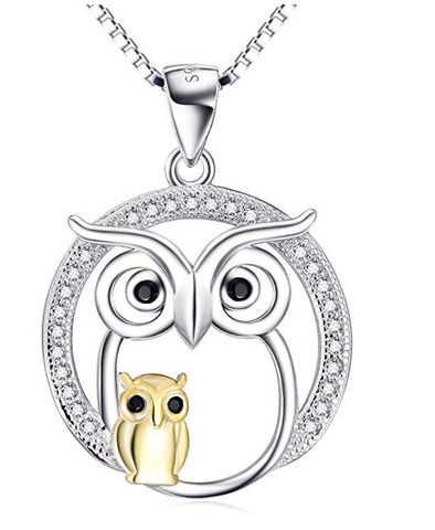 Mother and Baby Owl Sterling Silver Necklace