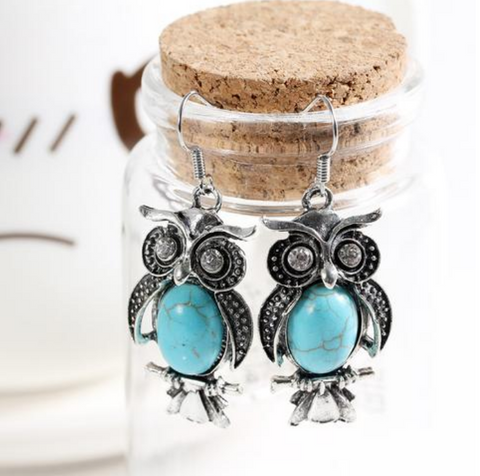 Owl Crystal Drop Earrings