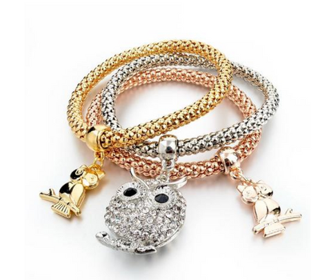Owl Pendant Three Piece Bracelet