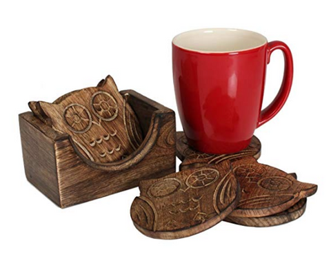 Wooden Owl Coaster Holder Set