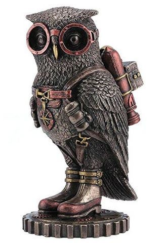 Steampunk Owl with Jetpack Statue