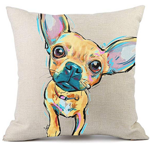 Art Chihuahua Throw Pillow
