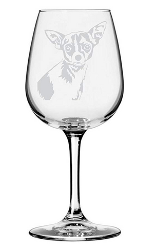 Chihuahua Dog Etched Wine Glass