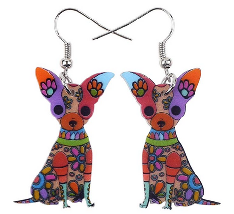 Acrylic Chihuahuas Drop Earrings