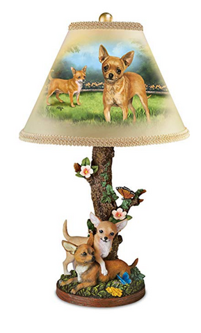 Accent Table Lamp With Sculpted Chihuahuas