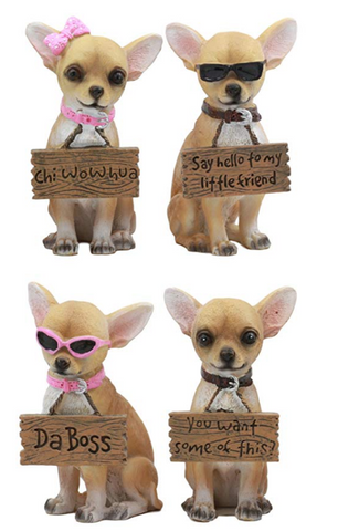 Set of Adorable Tea Cup Chihuahua Statues