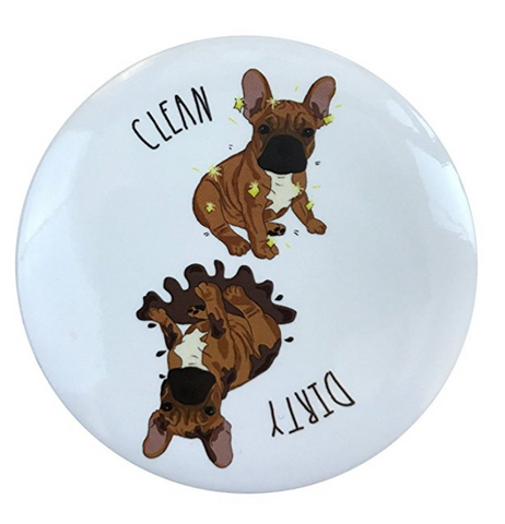 Clean Dirty French Bulldog Dishwasher Magnet