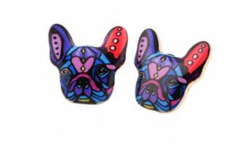 Colorful French Bulldog Stud Earrings