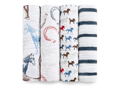 Horses Baby Blankets (4 Pack)
