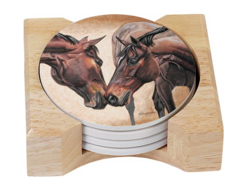 Horse Kiss Design Round Absorbent Coasters