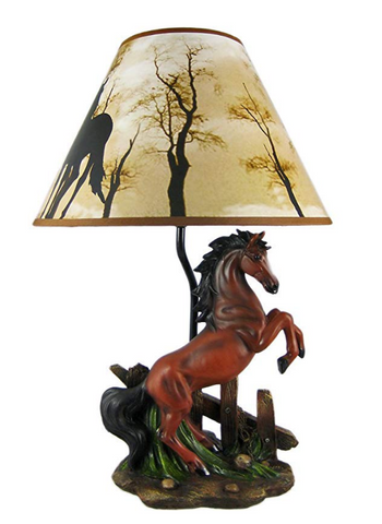 Stallion Horse Table Lamp W/Nature Print Shade