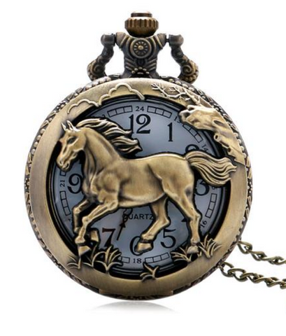 Stainless Steel Horse Pocket Watch