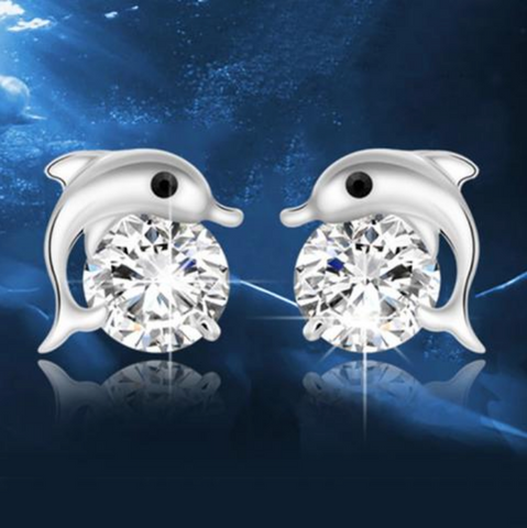 Silver Plated Cubic Zirconia Dolphin Stud Earrings