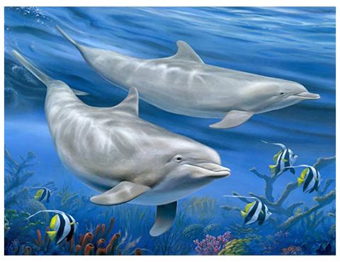 Dolphins Tempered Glass Cutting Board