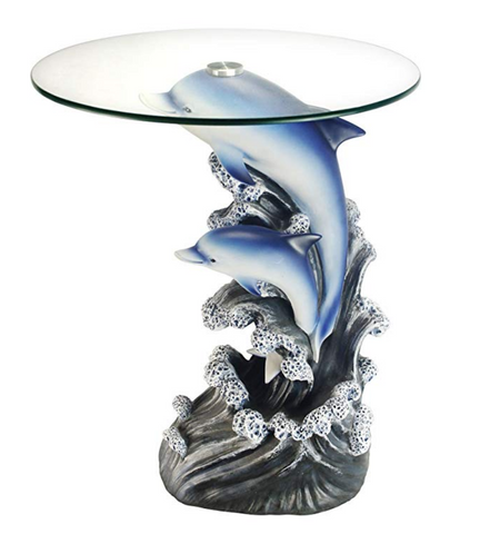 Dolphin Sculpture Glass Top End Table