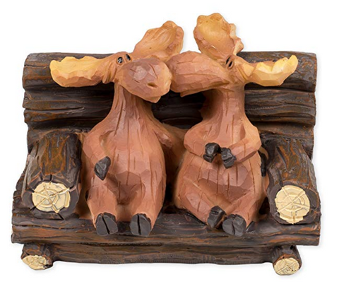 Kissing Moose On Bench Figurine
