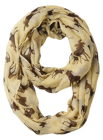 Cute Moose Print Loop Scarf