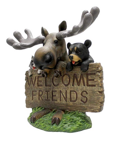 Moose Bear And Raccoon Welcoming Statue