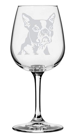 Boston Terrier Dog Themed Etched Wine Glass