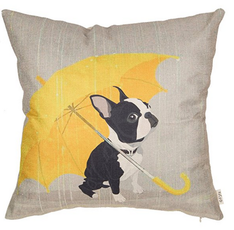 Boston Terrier With Yellow Umbrella Pillow Cover
