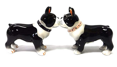 Boston Terrier Pups Magnetic Salt And Pepper Shakers