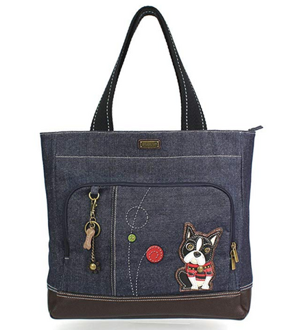 Boston Terrier Canvas Pocket Tote