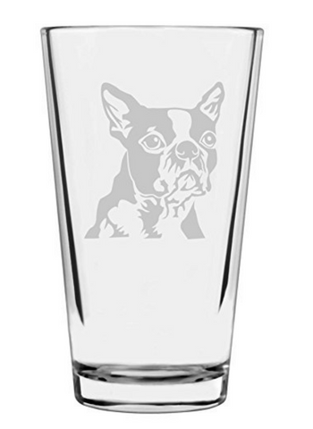Boston Terrier Dog Themed Etched Pint Glass