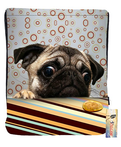 Pug looking at  cookie Drawstring Backpack