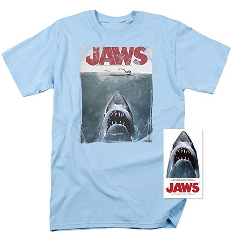 Jaws Shark Original Movie Poster T Shirt & Exclusive Stickers