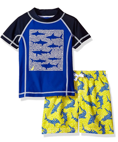 Nautica Boys' Shark Printed Rashguard Set with Upf 50+ Sun Protection