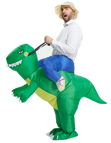 riding inflatable dinosaur costume