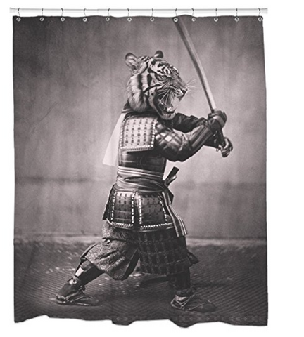 Japanese Tiger Shower Curtain with Samurai Sword