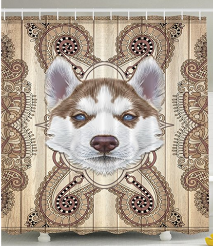 Cute Husky Shower Curtain