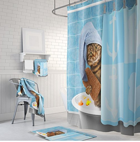 Kitten Cat Bathing Decor Shower Curtain