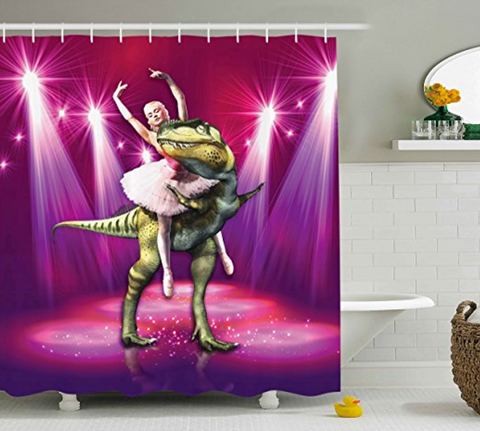Ballerina Dancing with a Dinosaur under Neon Lights Shower Curtain