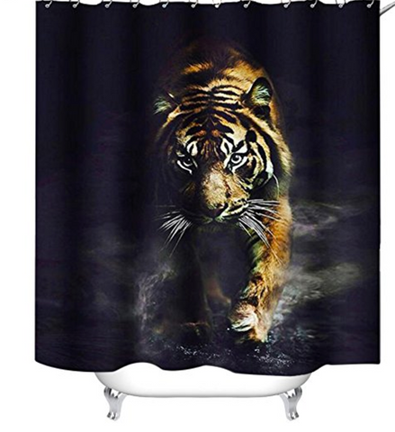 Prowling Ready to Attack Tiger Shower Curtain
