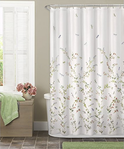 Dragonfly Garden Semi Sheer Fabric Shower Curtain