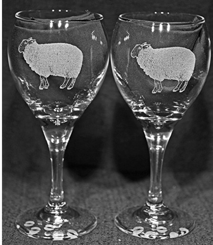 Sheep Laser Etched Wine Glass Set