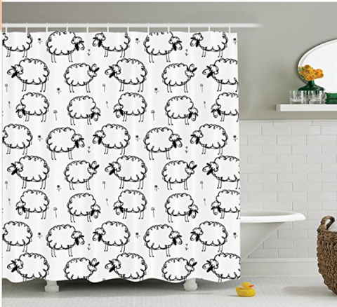 Home Decor Shower Curtain Funny Sheep Patterns