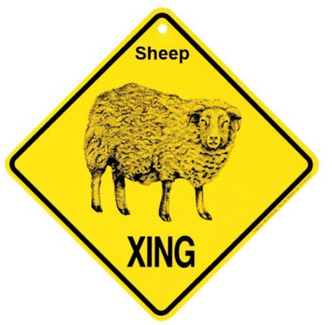 Sheep Xing caution Crossing Sign