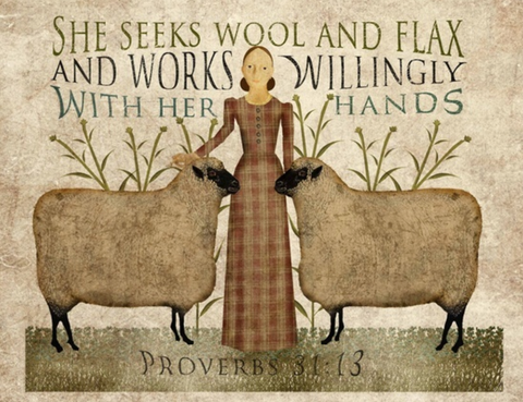 Primitive Folk Art Seeks Wool and Flax Sheep Proverbs Bible Verse