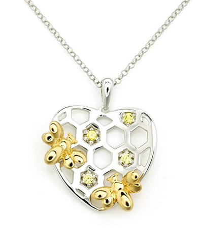 Yellow Hearty Honey Bee Pendant Necklace